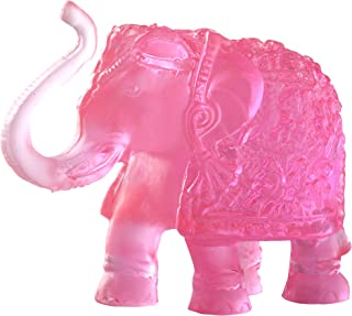 CARATCAFE Elephant Statue Ornament,Translucent Colour Idol Symbol of Lord Ganesha,Buddha,Feng Shui for Car Home Office Decor 3.5 x 2.5 Inch Approx. (Pink)