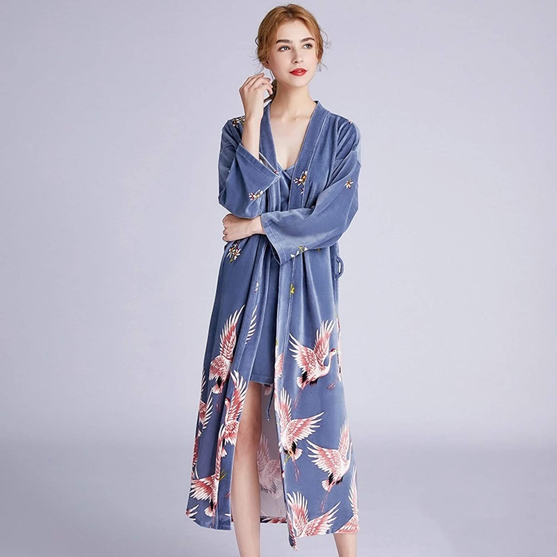 San Antonio Mall XiaoMinZhang Crane Velvet Max 68% OFF Night Single Durable Gown Style: