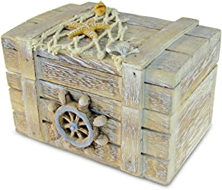 Puzzled Brown Wood Ship's Wheel Vintage Jewelry Box, 4.2 x 2.75 Inch Handcrafted..