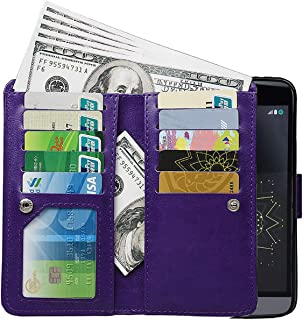 PS01 [Upgrade] 2 in 1 Leading Design Top Notch Bifold Magnetic Car Mount Phone Holder Compatible Folio Leather Wallet Case Cover for LG G5