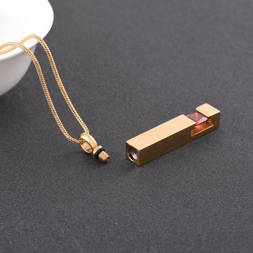 EternityMemory Crystal Bar Urn Pendant Necklace-Engravable Gold Stainless Steel Cremation Jewelry Out of The Ashes