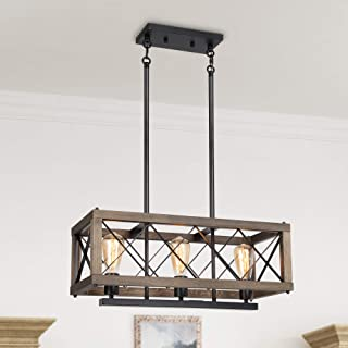 LALUZ Modern Farmhouse Chandelier, 3-Light Dining Room...