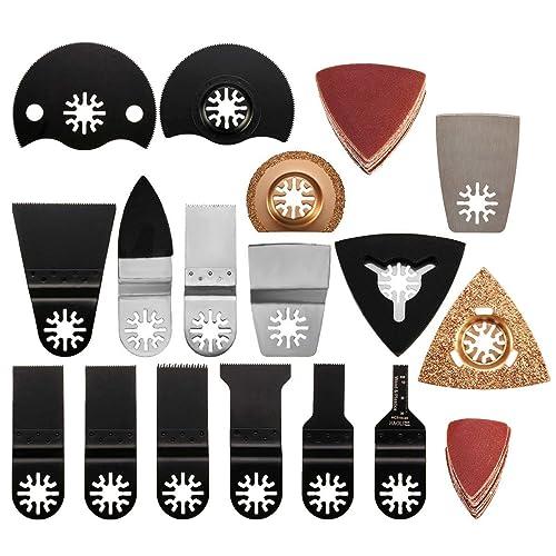 Outil Multifonctions Accessoires Baban 66 pcs Mix Lames Lames Multifonction de Tool Saw Blades Facile à Utiliser- Caractéristiques pour Scier, Couper, Racler, Façonner, Polir et Enlever le Coulis