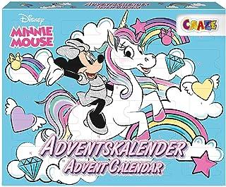 CRAZE Kalendarz adwentowy Minnie Mouse dzieci kalendarz bożonarodzeniowy dla dziewczynek kalendarz zabawkowy 2021 mini mys...