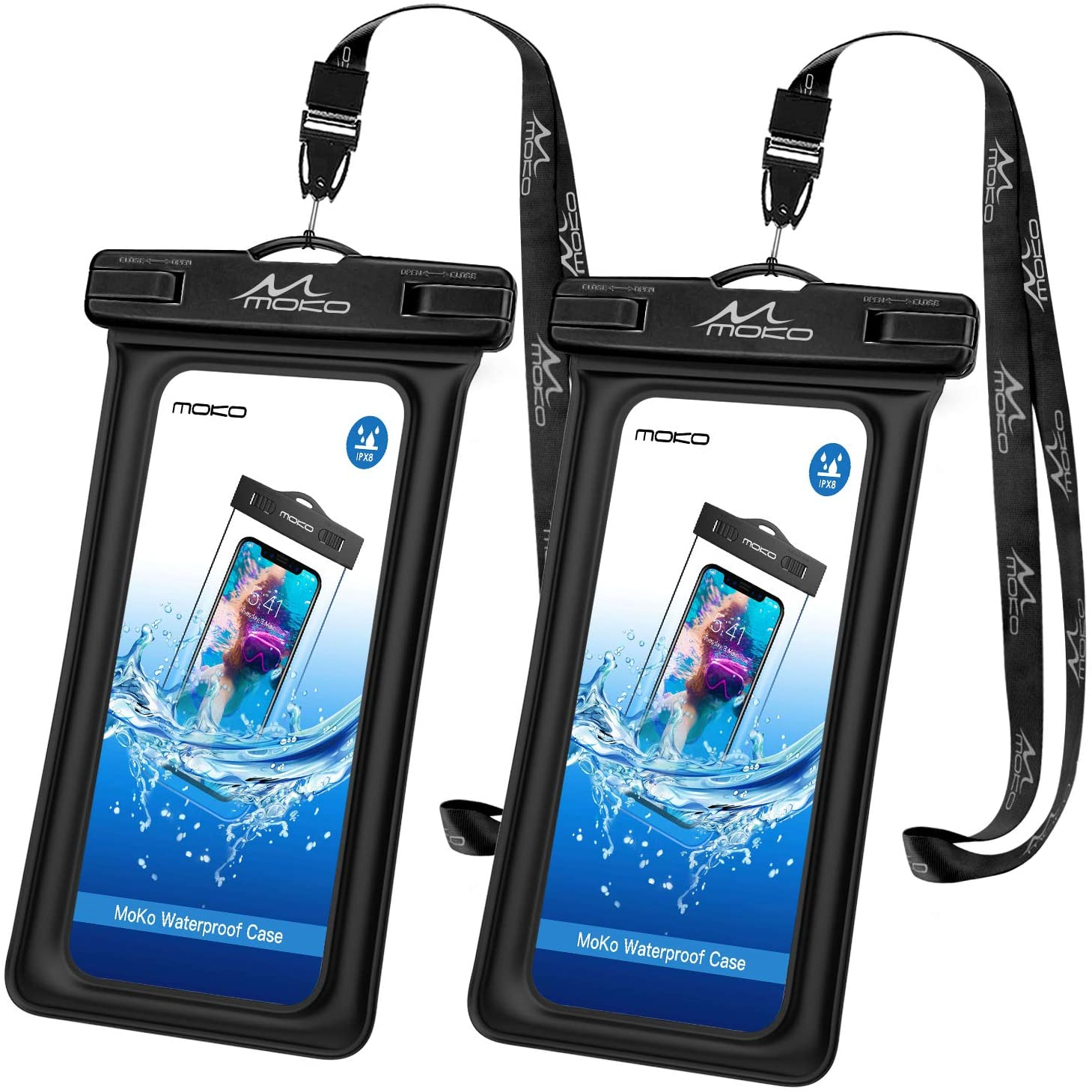 MoKo Floating Waterproof Phone Pouch Holder [2 Pack], Floatable Phone Case Dry Bag with Lanyard Compatible with iPhone 13/13 Pro Max/iPhone 12/12 Pro Max/11 Pro/X/Xr/Xs Max/8, Samsung S21/S10/S9/S8