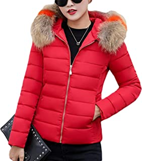 Dooxi Womens Winter Warm Faux Fur Hooded Short Parka Jacket Quilted Padded Coat Slim Fit
