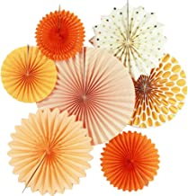 SUNBEAUTY Pack of 7 Hanging Paper Fans Collection Orange Paper Fans Home Party Photo Backdrop Decorations