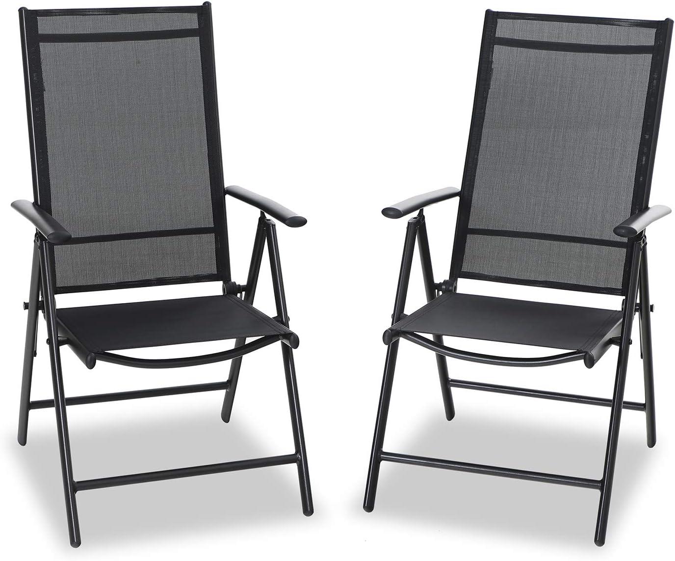 PHIVILLA Set di 2 sedie da giardino da pranzo con telaio in alluminio, 6X regolabili con 7 posizioni di seduta, sedie pieghevoli con schienale Alto resistenti agli agenti atmosferici