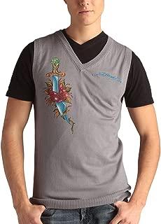 Mens Snake Eagle Print V-Neck Vest Sweater