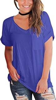 Women's Short Sleeve V Neck T Shirts Casual Loose Plain Basic Tee Tops Blouse Pocket