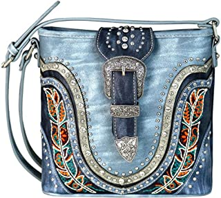 Cross Body Embroidered Buckle Messenger Bag Purses MW656-8360
