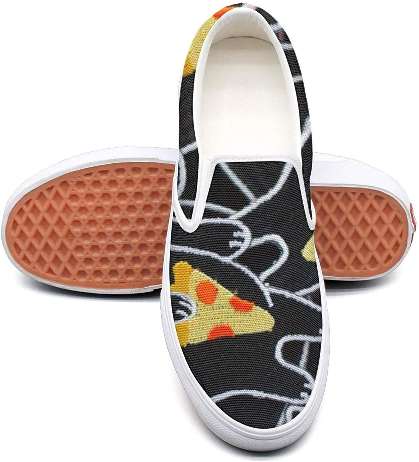 Refyds-es New York Style Pizza by The Slice Yellow Womens Fashion Slip on Low Top Lightweight Canvas Basketball shoes