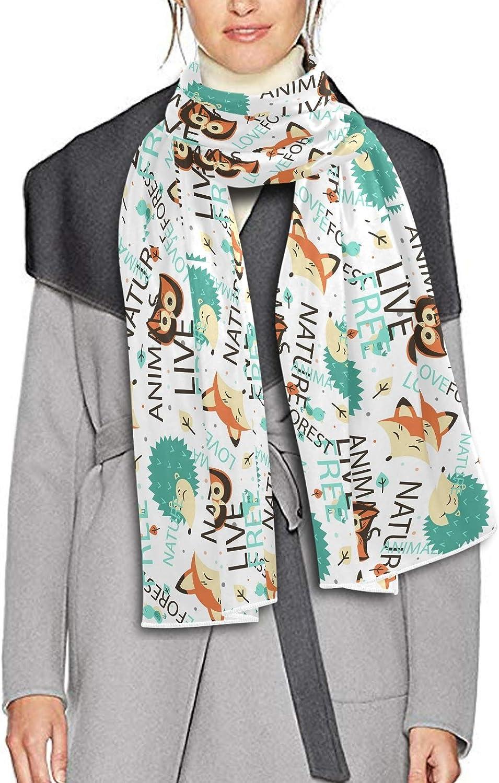 Scarf for Women and Men Cute Cartoon Animals Fox Hedgehog Shawls Blanket Scarf wraps Thick Soft Winter Oversized Scarf Lightweight