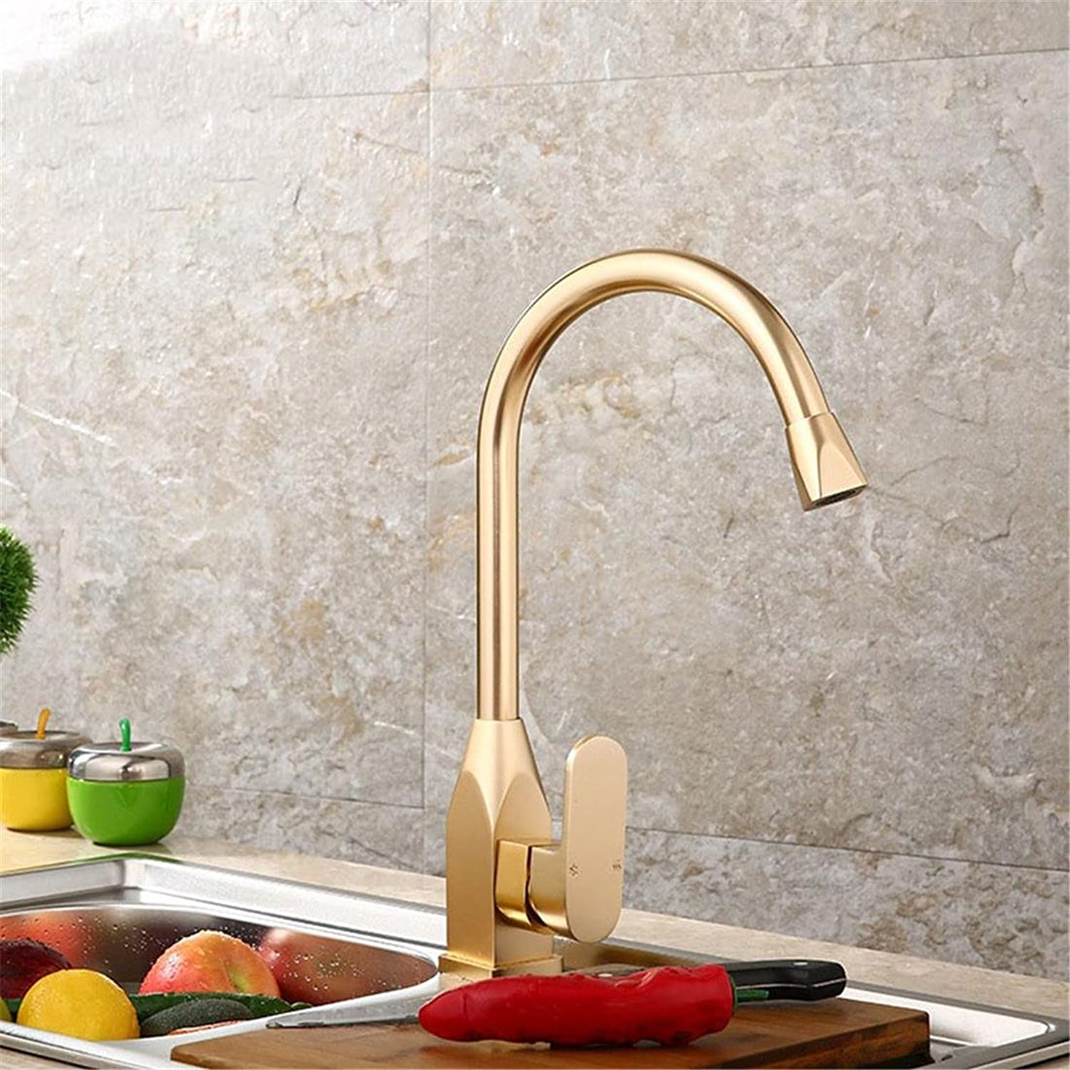 gold Bath Basin Sink Taps Standard Square Cutting Spout Single Lever , Bathroom Kitchen Hot And Cold Mixer , Modern Chrome Lavatory Faucet