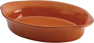 Rachael Ray Cucina Stoneware 2-Quart Oval Baker, Pumpkin Orange