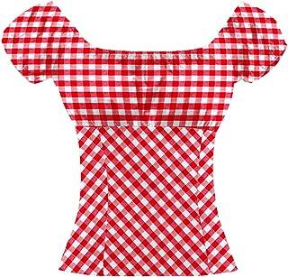 Wanlian Women Peasant Top Gingham Short Sleeve Shirt Blouse Check Plaid Tops Shirts