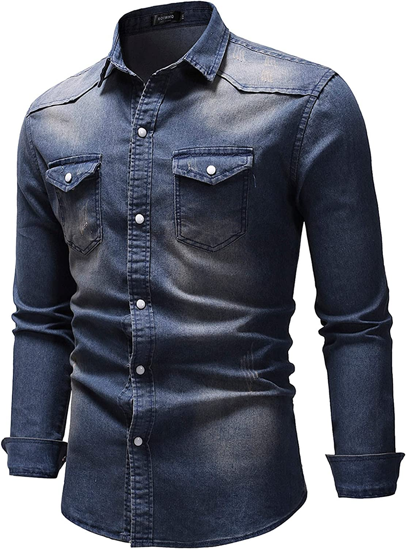 🌻Yowein🌻Mens Button Down Tops Slim Fit Retro Denim Western Shirt Washed Dress Shirts Long Sleeve Shirt Casual Blouse