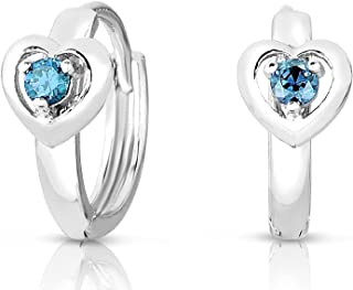 Girls 925 Sterling Silver Heart Design Round Huggie Earrings In Simulated Birthstone Colors