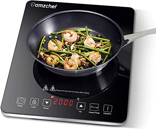 Plaque à induction, AMZCHEF plaque de cuisson à induction avec surface en verre cristal poli noir, design portable ul...