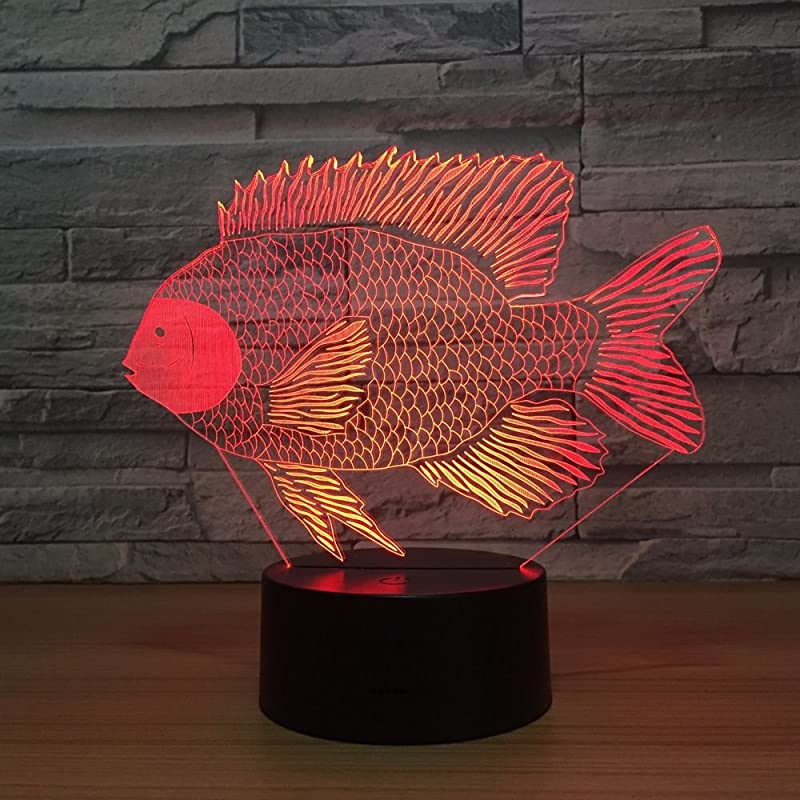 Fish 3D Visual LED Desk Lamp Night Light Fish Toy Household Home Room Decor 7 Colors Change Touch Table Light Birthday Gift Christmas For Kids And Adult