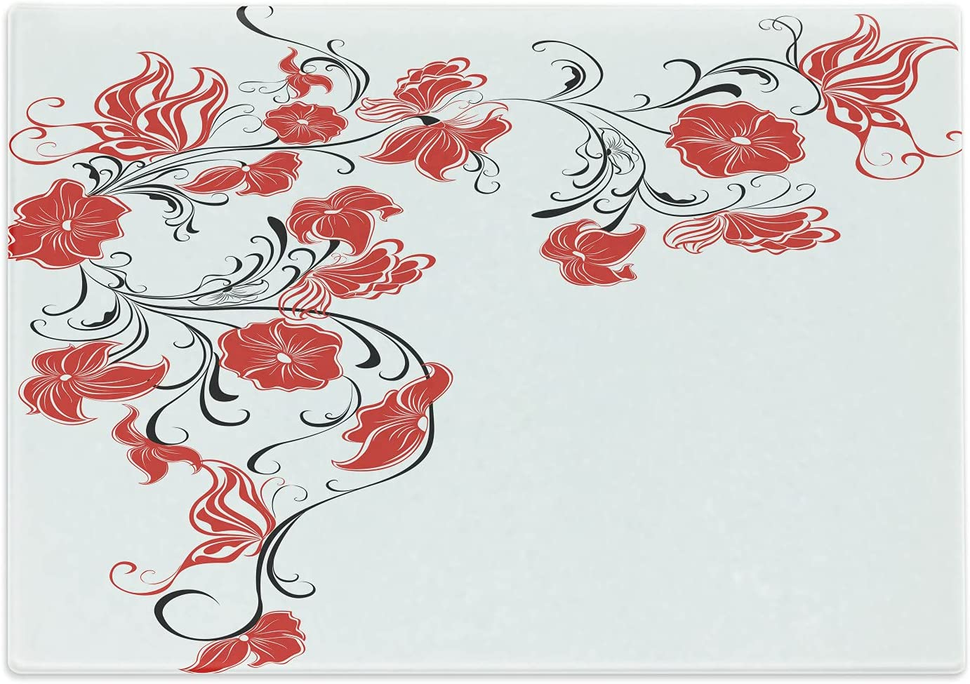 Ambesonne Red and Black Cutting S Japanese Flowers Max 60% OFF Board Design Inexpensive