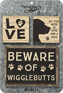 Primitives by Kathy 39363 Rustic Style Magnets, Set of 3, All You Need is Love and a Dog