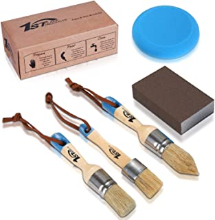 1st Place Products Chalk Finished Paint, Wax, Home Decor & Refinishing Kit - 3 Piece Brush Set - Distressing Block - Foam Applicator