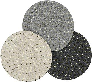 Kitchen Potholders Set Trivets Set 100% Pure Cotton Thread Weave Hot Pot Holders Set Hot Pads Hot Mats, Round Stylish Coas...