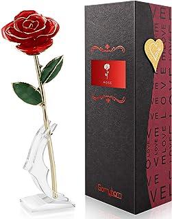 Gomyhom Rosa 24K, Rosa de Oro Chapada en Oro con Caja de