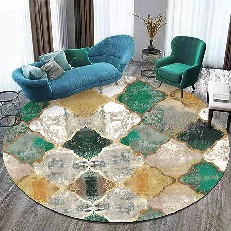 dear jy tapis rond tapis de salon de geometrie marocaine jaune vert emeraude retro convient pour la chambre a coucher balcon suspendu panier table