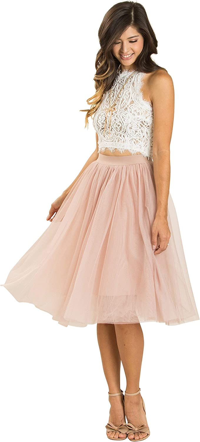 Women's Classic Tulle Midi Skirt - Cute, Soft for Engagements, Weddings, or Special Occaision!