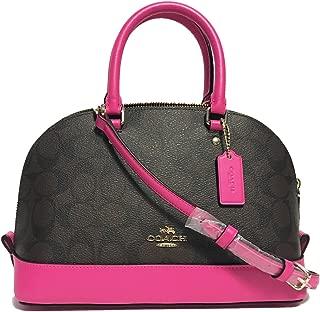 F58295 Mini Sierra Satchel Brown/Black Signature Crossbody Handbag (Fuchsia)