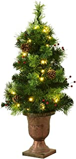 Goplus Christmas Tree Pre-Lit Tabletop Artificial Entrance Tree with Led Lights, Gold Urn Base, Pine Cones and Red Berries (3 FT)