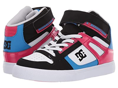DC Kids Pure High-Top EV (Little Kid/Big Kid) (Black/Crazy Pink/Blue) Girls Shoes