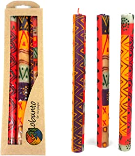 Global Crafts Set of Three Boxed Tall Hand-Painted Candles - Indabuko Design - Nobunto Candles