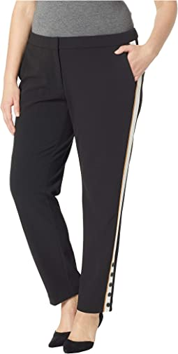 Plus Size Pants with Contrast Stripe and Button on Ankle