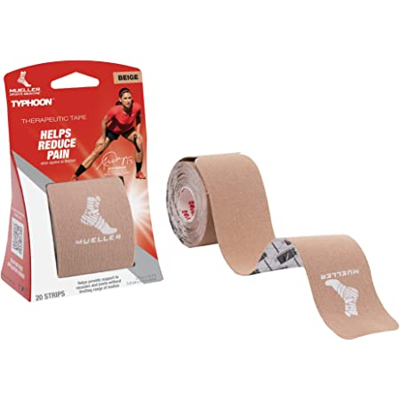 MUELLER Typhoon Kinesiology Therapeutic Tape, 20 Pre-Cut I-Strips, 20, Beige, 20 Count (Pack of 1)