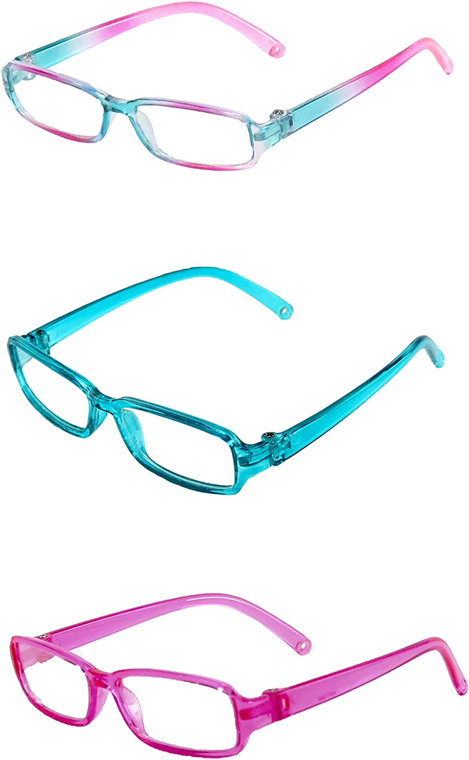 American Fashion World Three Pairs of Multicolored Rectangle Glasses Made to fit 18 inch Dolls Such as American Girl Dolls