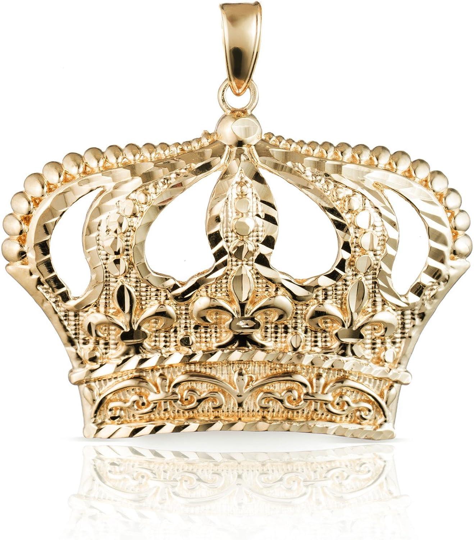 Floreo online Bargain sale shop 10k Yellow Gold Open Big Pendant Crown Diamond with Charm