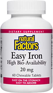 Natural Factors, Easy Iron Chewable, Gentle Supplement for Energy and Metabolism Support, Vegan, Gluten Free, Tropical Fru...