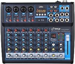 Professional Audio Mixer Sound Board Console Desk System Interface 8 Channel Digital USB Bluetooth MP3 Computer Input 48V Phantom Power Stereo DJ Studio FX 16-Bit DSP processor- Pyle PMXU83BT