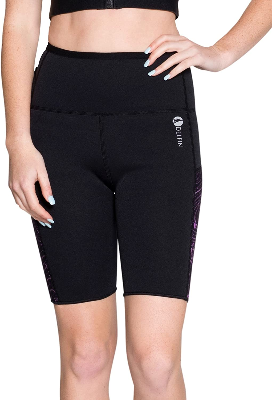 Delfin Women's Heat Maximizing AntiCellulite Fitness Shorts, Mystic Purple, Large