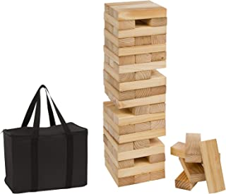 Trademark Innovations 60 Piece 2' Tall Giant Wooden Stacking Puzzle Game with Carry Case