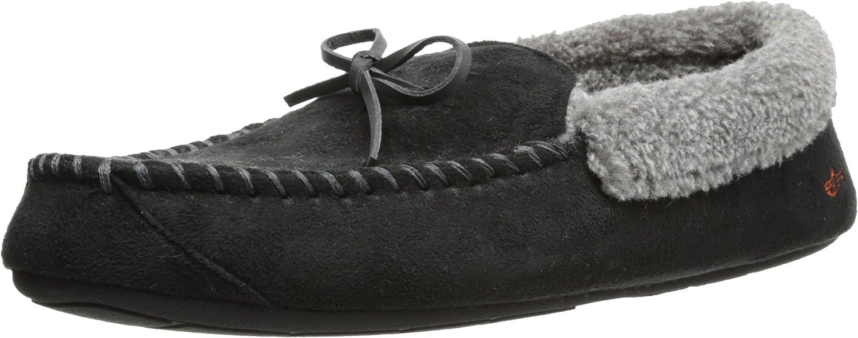 Dockers Ryan Aviator Moccasin with Warm Plush-Sherpa style collar, Black, 11-12 XL