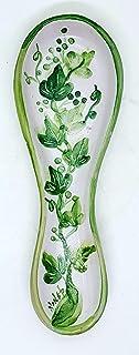 Poggia cucchiaio Linea Edere dimensioni 24 x 8,5 cm Realizzato a Mano Le Ceramiche del Castello Made in Italy