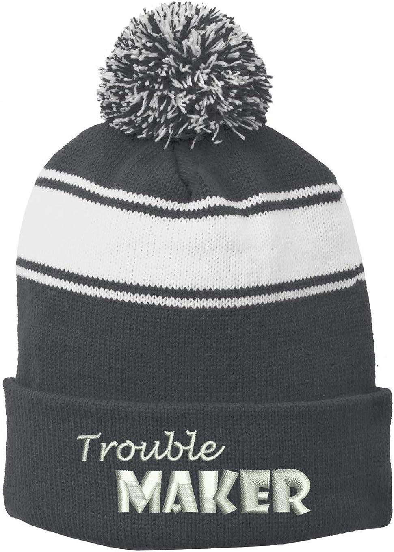 INK STITCH Stc28 Trouble Maker Emb Winter Pom Pom Beanie Hats - 6 Colors