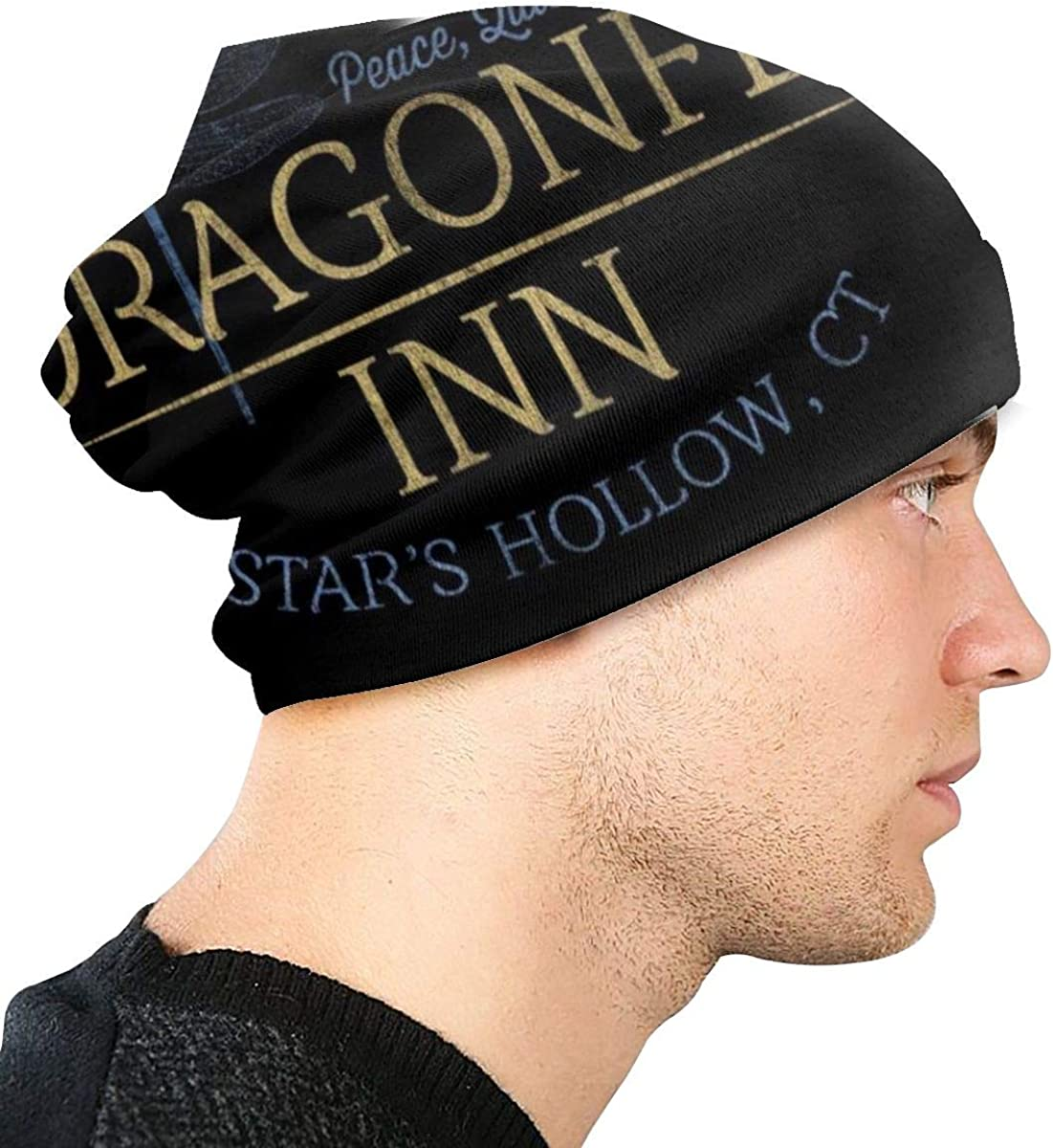 Slouchy Knit Beanie for Men & Women - Winter Toboggan Hats for Cold Weather Gilmore Girls Inspired Dragonfly Inn Beanie Cap Black