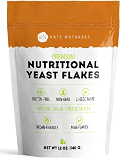 Premium Nutritional Yeast Flakes - Kate Naturals. Delicious Fortified Nooch for Vegans. Perfect for Mac & Cheese Sauce, Po...