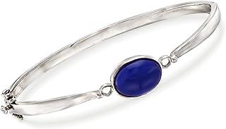 Ross-Simons Bezel-Set Lapis Bangle Bracelet in Sterling Silver
