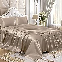 Homiest 4pcs Satin Sheets Set Luxury Silky Satin Bedding Set with Deep Pocket, 1 Fitted Sheet + 1 Flat Sheet + 2 Pillowcas...